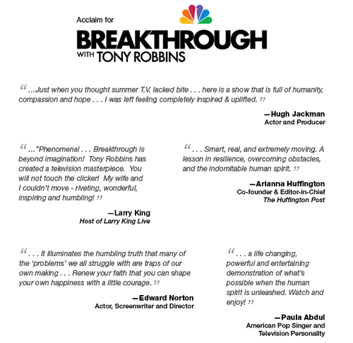 Tony robbins on nbc graphic