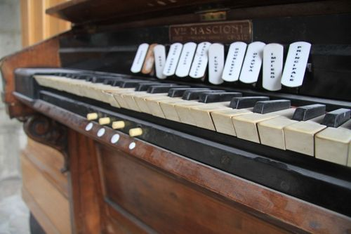 Old piano in La Basilica in old town Quito