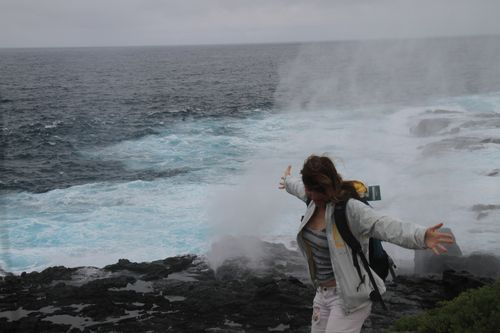 Renee in front of blow hole on Espanola Island (8)