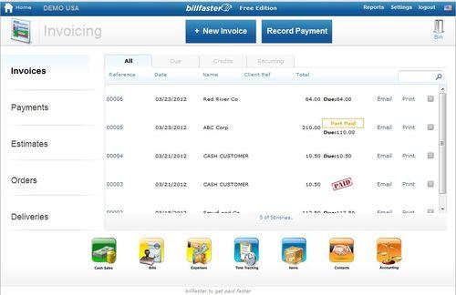 Invoice screen