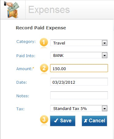 Expense screen