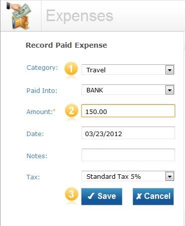 Expense screen